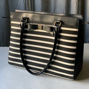 Kate Spade Rare Black/White Striped Bag w/Bow
